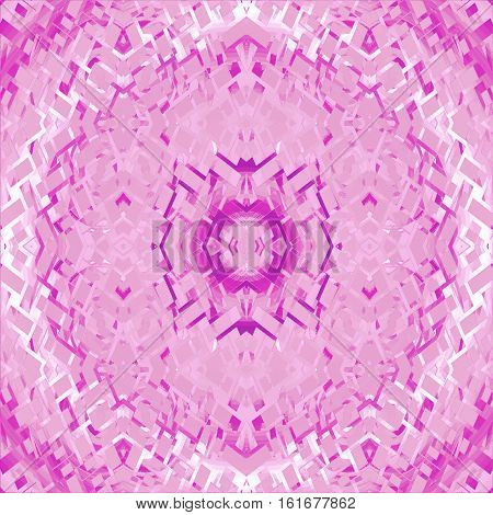Abstract geometric seamless background. Regular centered futuristic ornament in pink, violet, magenta and white, intricate and extensive.