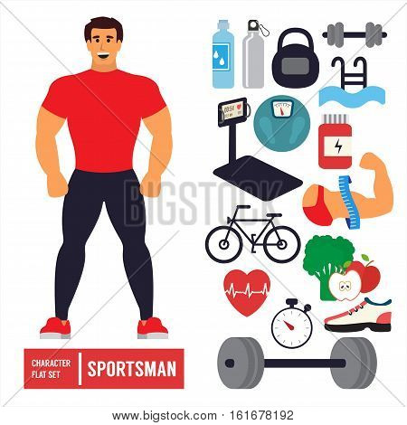 Fitness character set. Athlete man training in gym with sport icons. Powerlifting. Flat Vector Icons.