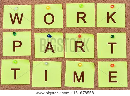 The words Work part time on notes closeup