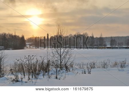 Late cold winter dawn in Mikkeli, Finland