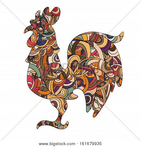 Year 2017 symbol Chinese Rooster. Isolated colorful with black outline. Drawing