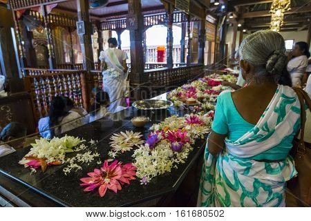 Kandy, Sri Lanka - December 01:, 2016: Temple Of The Sacred Tooth Relicthe Inside View. People Bring