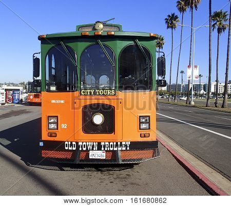 San Diego California November 26 2016 Front view of an old time Trolley car