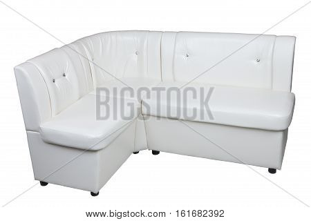 White leatherette Corner Sofa with storage space dining room furniture isolated on white background include clipping path.
