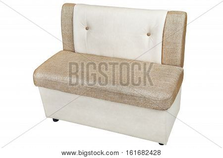 leatherette storage bench seat for dining room isolated on white background include clipping path.