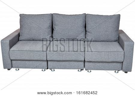 Living Room Sofas Furniture convertible fabric sofa bed futon dark grey color isolated on white background include clipping path.