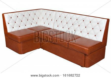 Brown and white color corner bench for dining room isolated on white background include clipping path.