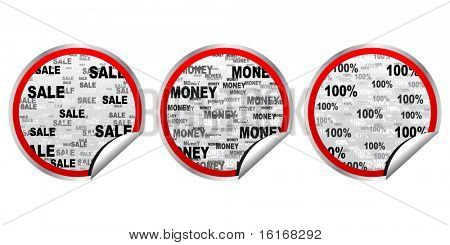 (raster image of vector) Different stickers use for advertising