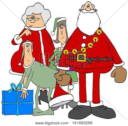 Illustration of Santa and Mrs Claus standing by a male and female elf.