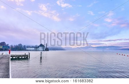 Lake Attersee In The Morning With Schloss Kammer