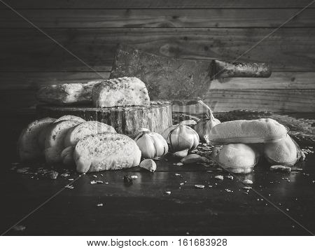 Garlic bread and cakes have expired fungus is harmful to health. Still life object