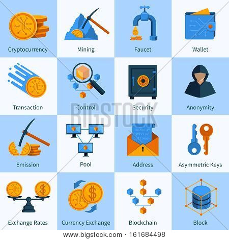 Set of icons in flat style with virtual currency block chain mining and security isolated vector illustration