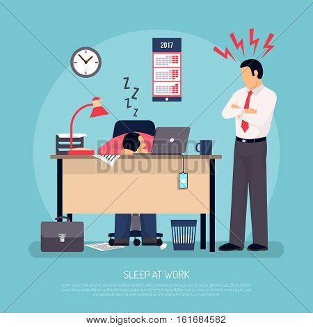 Angry business manager and employee falling asleep at work in office overworking warning symptoms flat poster vector illustration