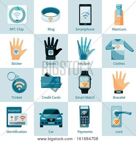 NFC technology icons set with chip ring  trinket banking card and identification flat style isolated vector illustration