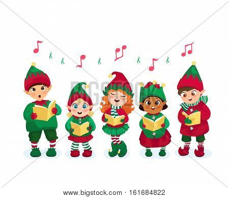 Kids in elfes costumes going Christmas caroling flat vector illustration