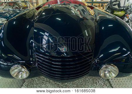 GERMANY, SINSHEIM - NOVEMBER 6, 2016. Oldtimer Alfa Romeo blue car front on November 6 2016 in Sinsheim, Germany
