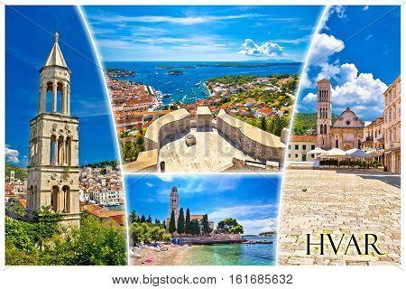 Island Of Hvar Tourist Postcard With Label