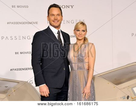 Chris Pratt and Anna Faris at the Los Angeles premiere of 'Passengers' held at the Regency Village Theatre in Westwood, USA on December 14, 2016.