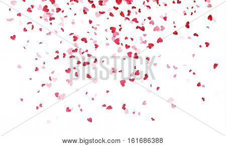 Pink hearts petals falling on white background for Saint Valentine Day greeting card design. Flower petal in shape of heart confetti