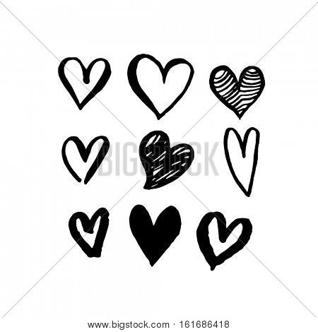 Pattern of hearts vector sketch art for Valentine day design. Marker or felt-tip pen drawing. Romantic symbols set. Love greeting valentines card elements