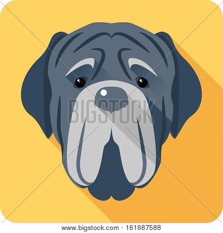 Vector serious dog Neapolitan Mastiff or Mastino icon head flat design