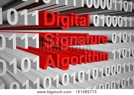 Digital Signature Algorithm in the form of binary code, 3D illustration