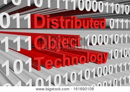 distributed object technology as binary code 3D illustration