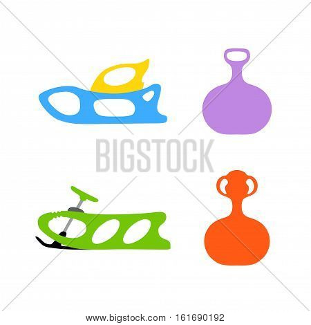 Sled. Winter. Hand drawn vector set of baby sled