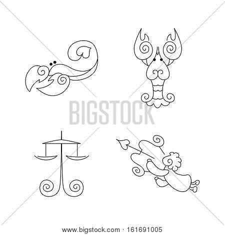 Vector One line zodiac symbols set - Libra Scorpio Cancer sagittarius