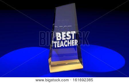 Best Teacher Educator Award Prize Recognition 3d Illustration
