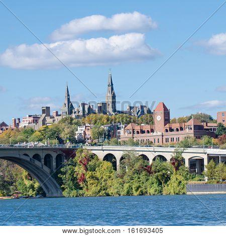 Washington DC - Georgetown and Key bridge in autumn