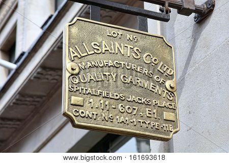 London, UK, April 2, 2011 : AllSaints logo advertising sign outside one of its clothing stores in Regents Street