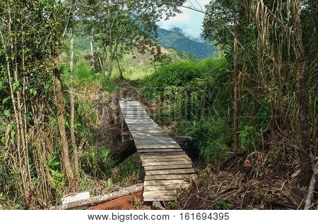 Wooden footbridge at the Mt Kinabalu Holiday Camp at Ranau,Sabah,Borneo,as a concept for challenge in nature of Borneo jungle in Kudasang,Sabah,Borneo.