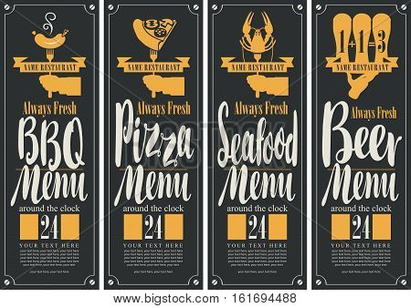 banner for B-B-Q munu, pizza menu, seafood menu, beer menu with picture of schedule