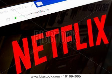 Paris France - December 15 2016: Netflix HomePage of Website. Netflix Inc. is an American multinational entertainment company founded on 1997. It specializes in and provides streaming media and video on demand online and DVD by mail.