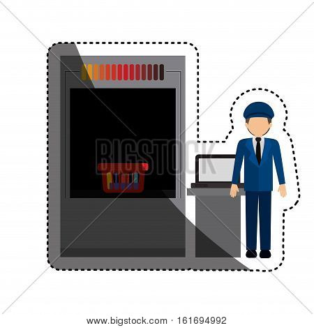 Security checkpoint icon. Airport travel trip and tourism theme. Isolated design. Vector illustration