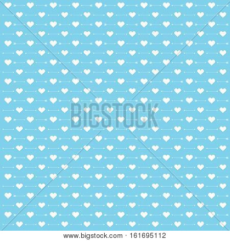 Background of Valentine illustration with cute arrow and love blue background suitable for Valentine scrap paper, wallpaper and postcard