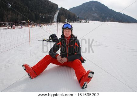 The Italian Alps. Rest of the skier on the ski slope.