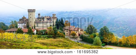 Medieval village (borgo) Vigoleno with well preserved castle in Emiglia-Romagna, Italy
