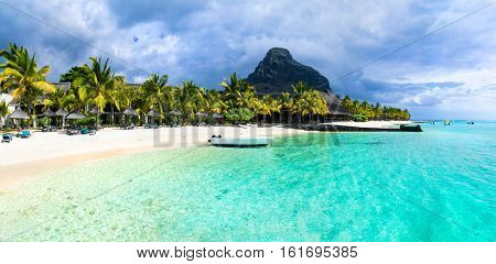 Tropical scenery - beautiful beaches of Mauritius island, Le Morne