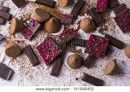 Different varieties of chocolate: dark chocolate milk chocolate chocolate truffles