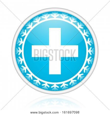 Cross vector icon. Winter and snow design round web blue button. Christmas and holidays pushbutton.