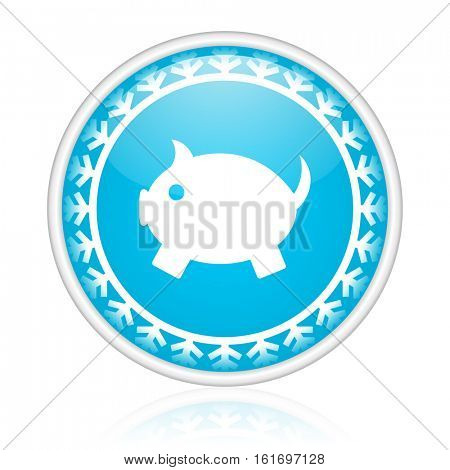 Piggy bank vector icon. Winter and snow design round web blue button. Christmas and holidays pushbutton.