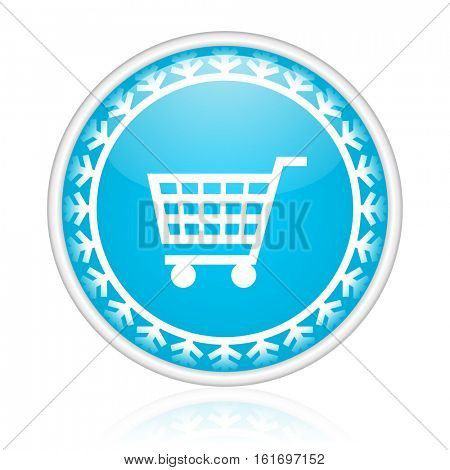 Shopping cart vector icon. Winter and snow design round web blue button. Christmas and holidays pushbutton.