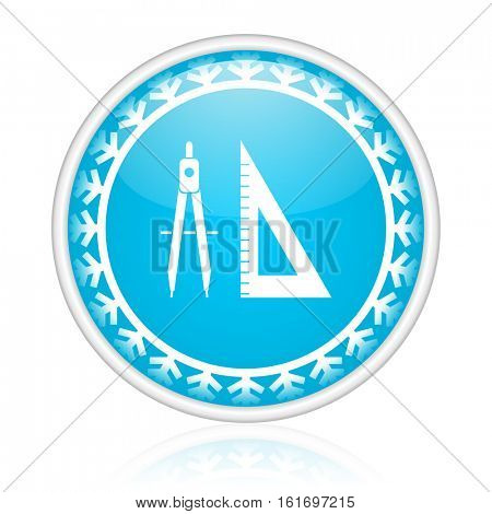 Compass vector icon. Winter and snow design round web blue button. Christmas and holidays pushbutton.