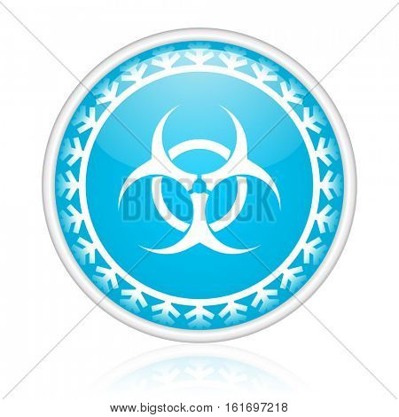 Biohazard vector icon. Winter and snow design round web blue button. Christmas and holidays pushbutton.