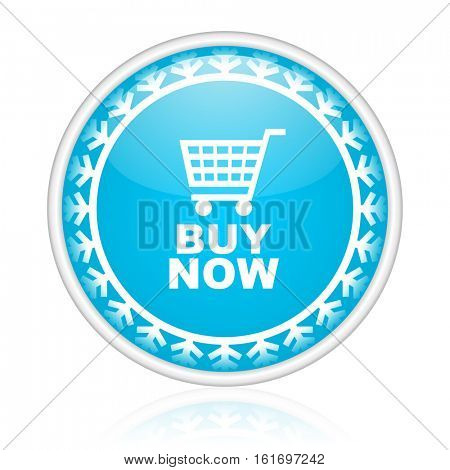 Buy now shopping cart vector icon. Winter and snow design round web blue button. Christmas and holidays pushbutton.