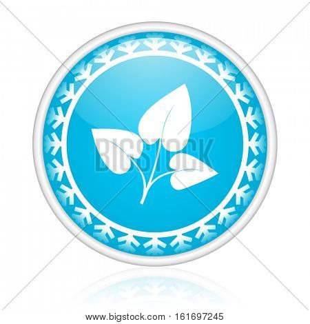 Leaf vector icon. Winter and snow design round web blue button. Christmas and holidays pushbutton.