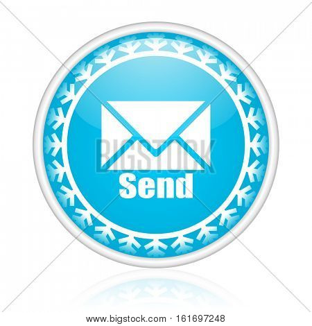 Send mail vector icon. Winter and snow design round web blue button. Christmas and holidays pushbutton.