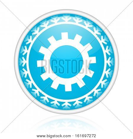 Wheel vector icon. Winter and snow design round web blue button. Christmas and holidays pushbutton.